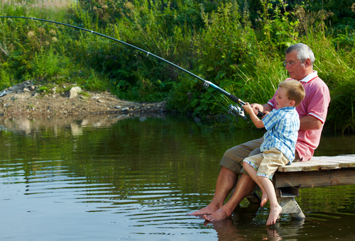 grandad and grandson fishing