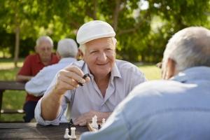 Elderly men playing chess.