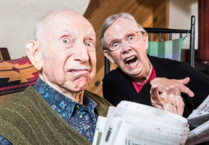 elderly couple funnily angry barton park home