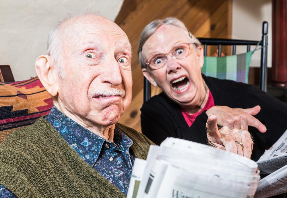 elderly couple funnily angry barton park home